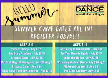 Camp at Academy of Dance Westlake Village For Girls and Boys Ages 3-11! One Week of Dance Camp Starting at Just $99!